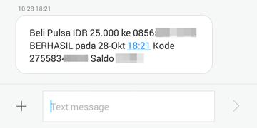 SMS notifikasi transaksi berhasil.