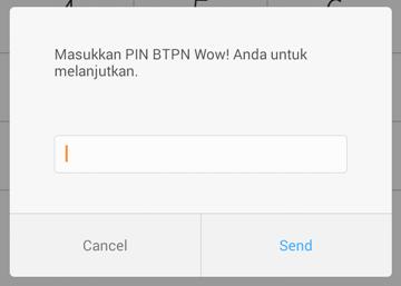 Menu untuk memasukkan PIN btpn WOW!