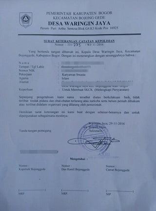 Surat Pengantar SKCK dari Kantor Kelurahan