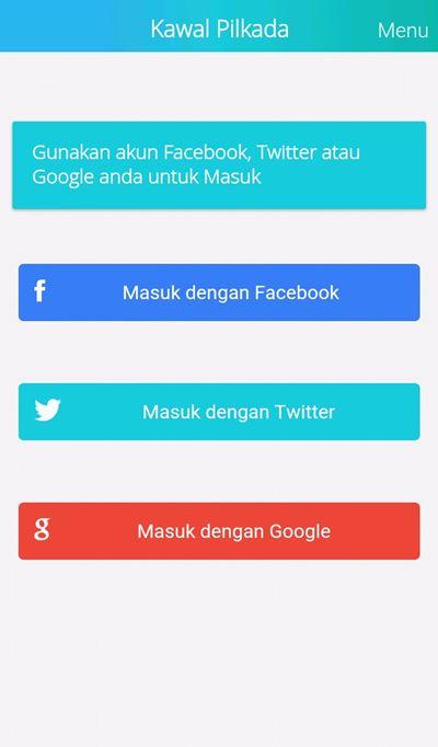 Menu Login Bisa Menggunakan Akun Facebook, Twitter dan Google