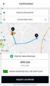 Konfirmasi Pesan Uber Motor Untuk Orang Lain