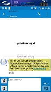 SMS Notifikasi Registrasi Ulang Kartu Prabayar