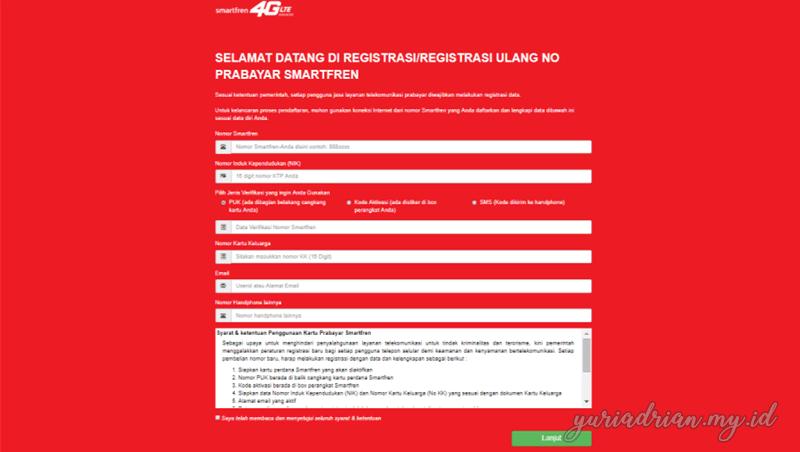Halaman web yang disediakan oleh Smartfren untuk melakukan registrasi kartu prabayar secara online