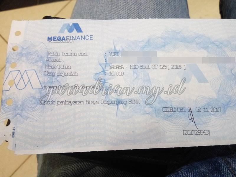 Bukti Pembayaran Surat Keterangan Leasing Mega Finance