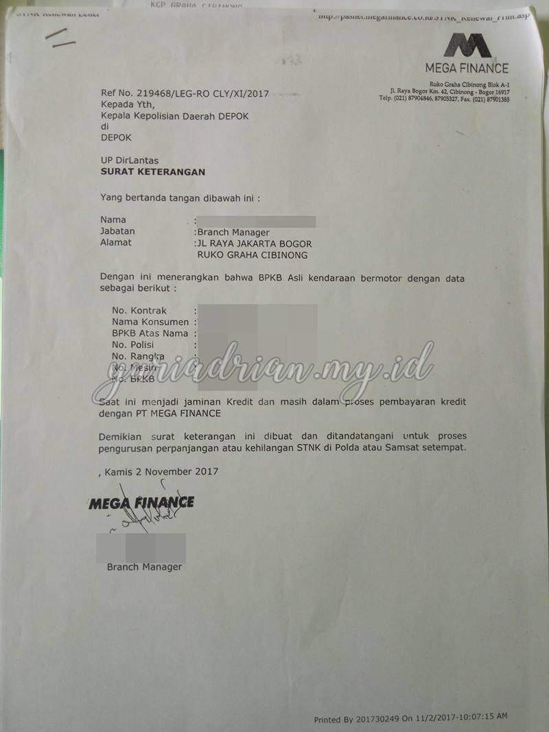 Surat Keterangan dari Leasing Mega Finance