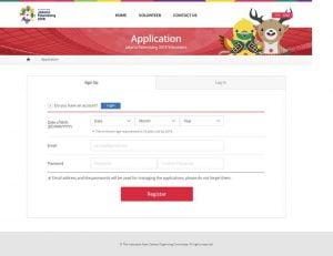 Screenshot form application untuk daftar sebagai volunteer Asian Games 2018, via volunteer.asiangames2018.id