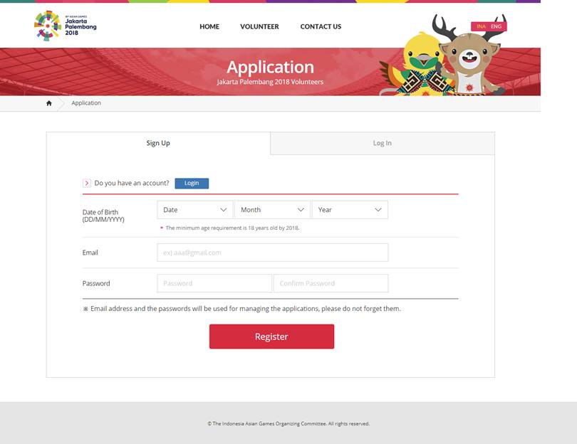 Screenshot form application untuk daftar sebagai volunteer Asian Games 2018, via volunteer.asiangames2018.id