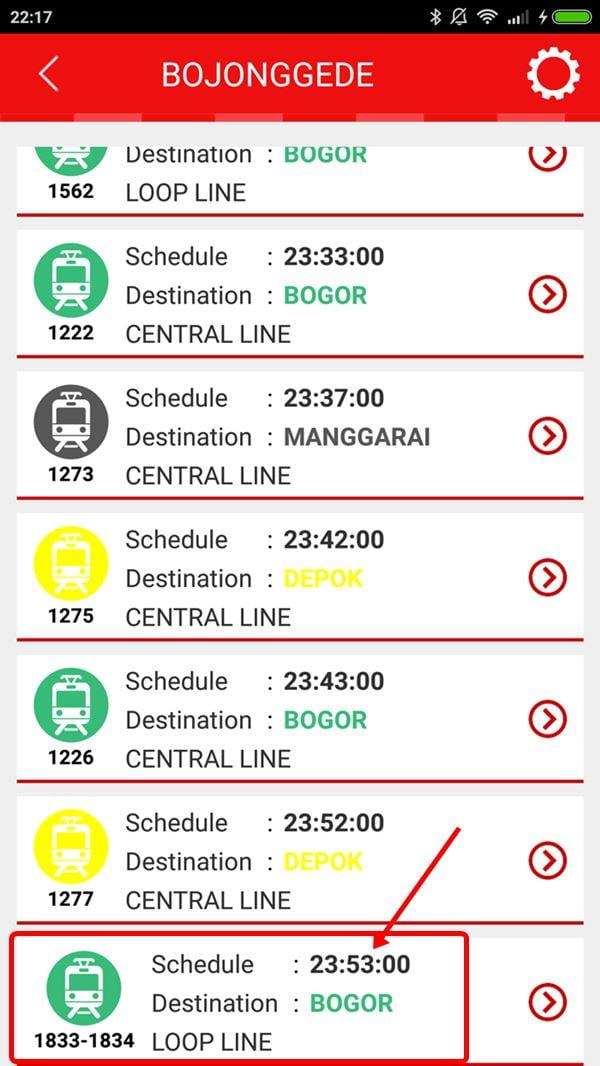 Jadwal posisi krl Nomor KA 1833-1844 di Stasiun Bojonggede, skrinsut dari aplikasi KRL Access.