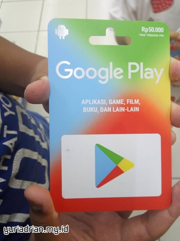 Voucher Google Play Rp 50.000 yang dijual di Indomaret