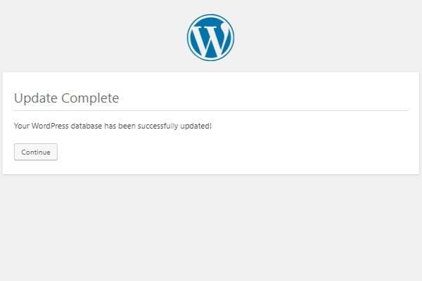 Notifikasi proses update wordpress sudah selesai