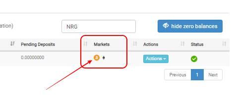 Di menu Markets, bisa dipilih NRG mau ditukar ke BTC atau ke ETH.