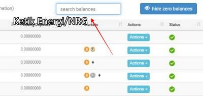 Ketikan energi/nrg di search balances CoinExchange.io
