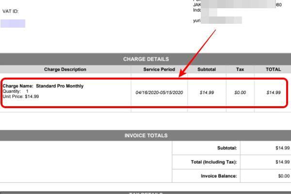 Invoice yang didapat setelah kita upgrade jadi akun pro